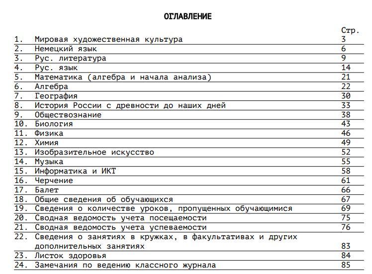 50134a9e4b16 На левом развороте предметной страницы размещена следующая информация   название предмета   сетка журнала ...